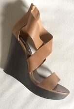 Steve Madden Riddgge Wedge Sandals Tan Brown Leather Straps Zip sz 11