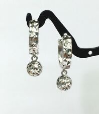 18k Solid White Gold Cute Ball Dangle Hoop Earrings, Diamond Cut 2.50 Grams