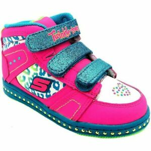 SKETCHERS TWINKLE TOES INFANT GIRLS HI TOP ANKLE TRAINERS BOOTS SHOES SIZE