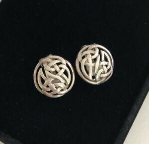 Vintage Sterling Silver 925 Clip On Earrings Celtic Knot 1990s