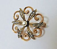 Antique Estate Victorian 10K Yellow Gold, Diamond, & Seed Pearl Pin/Brooch