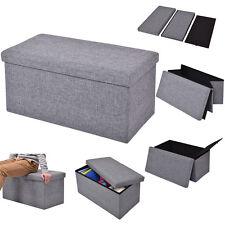 Folding Rect Ottoman Bench Storage Stool Box Footrest Furniture Home Decor Gray