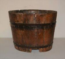 Antique Wooden Banded Bucket Farm Primitive