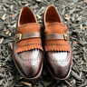 Handmade Men's Brown Brogue Fringes Monk Strap Leather Suede Shoes.