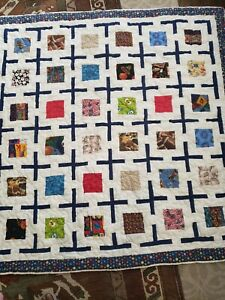 Home Made Patchwork Quilt Machine Quilted novelty block cross 57x56