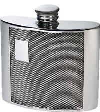 Kidney Shape Hip Flask 4oz Pewter with Barley Pattern Panel & Monogram Section