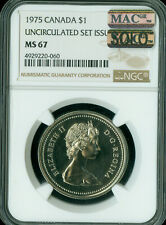 1975 Attached Jewel CANADA $1 DOLLAR NGC MS67 PQ MAC SOLO FINEST SPOTLESS RARE *