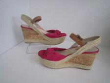 PRADA Fuchsia suede leather knot corkwedge rope sandals  US 11  $520