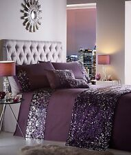 KING SIZE DUVET COVER SET DAZZLE AUBERGINE PURPLE SEQUIN DETAILING BLING BEDDING
