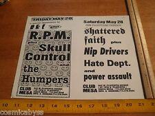 RPM Skull Control Shattered Faith 1980s ORIGINAL Punk Rock concert poster CA
