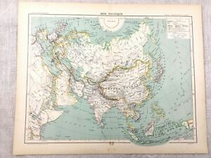 1894 Antique Map of Asia The Far East Political Old Original 19th Century French
