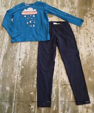 NWOT Hanna ANDERSSON Blue Long sleeve Rain cloud Applique Shirt Leggings Set 150