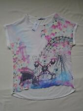 "BNWT Multi pastel colour ""fairground/balloon"" print cap sleeve summer top UK 10"