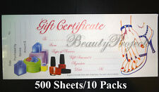500 Sheets Gift Certificates Professional Nail Beauty Salon 10 Booklets - White