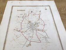 Antique Map Bedford Showing Boundary Of Borough By S Lewis C 1835 Walker