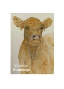 Original Painting George The Cow 1 Of By Kenna Unframed A5