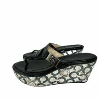 Coach Black Patent Leather Thong Wedges Size 7.5