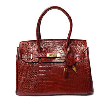 Genuine Crocodile Leather Handbag Red Brown Color