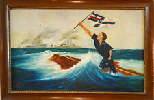 Der Letzte Mann Antike Ölgemälde 1.WK Deutsche Kriegsmarine Bild Hans Bohrdt