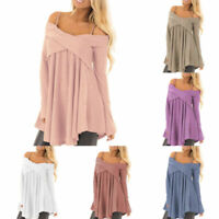 Women's Knitted V Neck Long Sleeve Pullover Jumper Sweater Casual Tops Patchwork