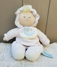 Vtg Russ Berrie Babette Blond Cloth Plush Doll Rattle Bonnet Bib Moon Stars