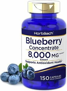Blueberry Extract 8000mg | 150 Capsules | Concentrated Supplement | by Horbaach