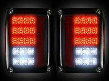 Recon  SMOKED LED Tail Lights Jeep Wrangler 2007-2016 # 264234BK
