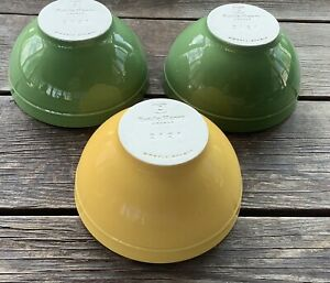 "Emile Henry-France-Green Yellow Small Bowls 2121 5 1/2"" Modele Depose Set Of 3"