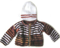 NEW KSS Handmade Knit Brown Toddler Sweater/Jacket and Cap (2 Yrs) SW-417