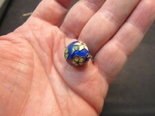 Antique Chinese Enamel Silver Necklace  Enamel Bead