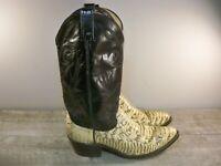 Vintage Dan Post Black Leather Cowboy Men's Western Pull On Work Boots Size 9.5