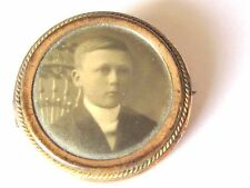 ANTIQUE FANCY  PHOTOGRAPH BROOCH PIN JEWELRY CHILD BOY ON CHAIR