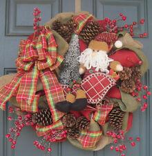 Burlap Christmas SANTA IN SLED Door Wreath