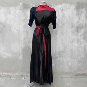 Vintage 1930s Hot Pink & Black Silk Satin Bias Cut Dress Maxi Wrap Bow Art Deco