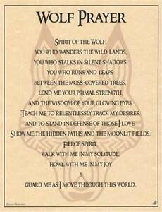 Wolf Prayer Parchment-Like Page for Book of Shadows Page, Altar!