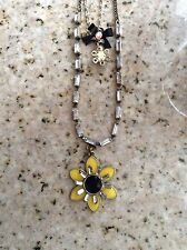 NEW WITH TAGS BETSEY JOHNSON YELLOW FLOWER CRYSTAL CHAIN  PENDANT NECKLACE