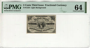 3 CENT THIRD ISSUE FRACTIONAL POSTAL CURRENCY FR.1226 PMG CHOICE UNC 64 (018)