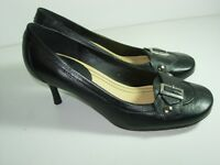 WOMENS BLACK SILVER LEATHER NINE WEST PUMPS CAREER HIGH HEELS SHOES SIZE 6.5 M