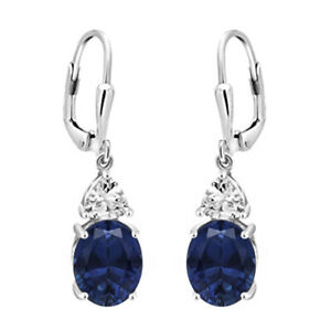 Solitaire Accents Blue Sapphire 925 Sterling Silver Valentine's Earring Jewelry