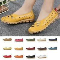 Women Leather Loafers Slip On Casual Ballet Flat Boat Moccasin Shoes Hollow Chic