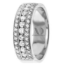 3 Rows Women's Diamond Wedding Ring 1.18 Ctw 8mm Solid 10K Gold Wedding Band