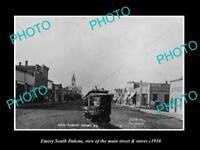 OLD LARGE HISTORIC PHOTO OF EMERY SOUTH DAKOTA, MAIN STREET & STORES c1910