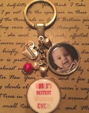 Personalised Photo Keyring - Worlds Best Mummy Pink - Mothers Day Birthday Gift