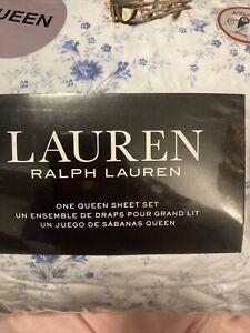 NWT RALPH LAUREN BLUE Floral QUEEN SHEET Set New