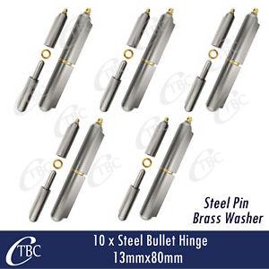 10 x Hinge Greasable Steel Bullet Weld 13x80mm Window Trailer Gate Door Caravan