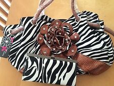 Zebra Printed Flower Handbag/Purse with Free Zebra Print Accordion Wallet
