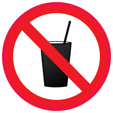 NO DRINKS DRINKING health and safety signs 6No 200x200mm