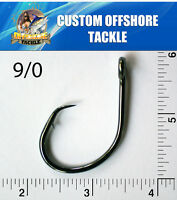10 PACK Size 9/0 4x Strong Custom Offshore Inline Non-Offset Circle Hooks L2004