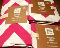 Pottery Barn Dorm Chevron Full Queen Duvet Cover + 2 Euro Shams Magenta Pink NEW