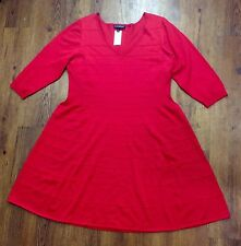NWT $89.95 Lane Bryant Women's Plus Size 22/24 Knit Red Flare Dress